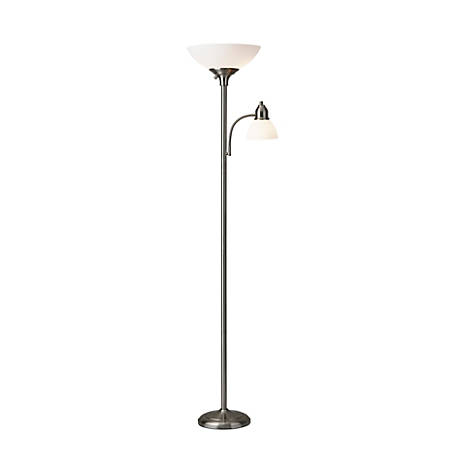 """Adesso® Glenn 300W Combo Torchiere, 71""""H, Frosted Shade/Brushed Steel Base"""
