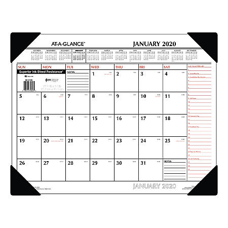 """AT-A-GLANCE® 2-Color Monthly Desk Pad With Corner Protectors, 22"""" x 17"""", January To December 2020, SK117000"""
