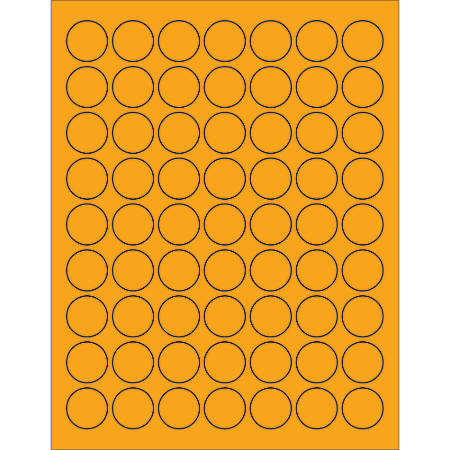 """Office Depot® Brand Labels, LL191OR, Circle, 1"""", Fluorescent Orange, Case Of 6,300"""