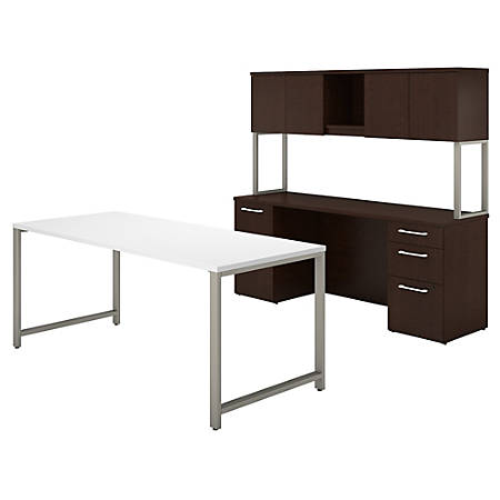 """Bush Business Furniture 400 Series Table Desk And Credenza With File Drawers And Hutch, 72""""W x 30""""D, Mocha Cherry/White, Premium Installation"""