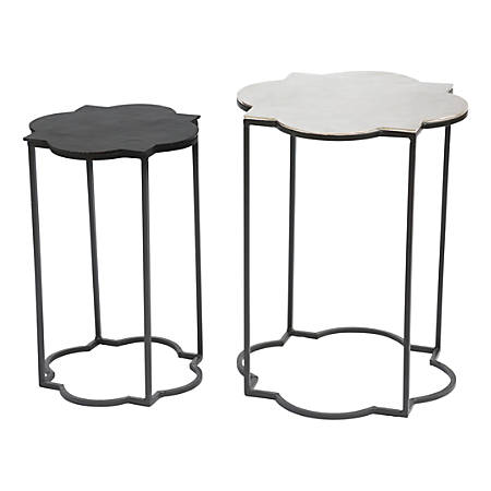 Zuo Modern Brighton Accent Tables, Round, Black/White, Set Of 2 Tables