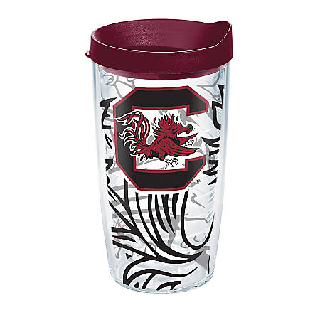 Tervis Genuine NCAA Tumbler With Lid, South Carolina Gamecocks, 16 Oz, Clear