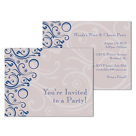 "Custom Full-Color Flat Note Card Invitations, 2 Sides, UV Front Finish, 5-1/2"" x 4-1/4"", Box Of 10 Invitations"