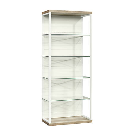 Sauder® Cottage Road Tall 5-Shelf Bookcase, Lintel Oak/White