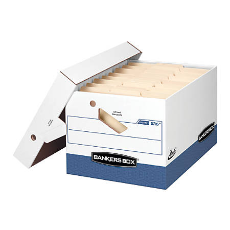 """Bankers Box® Presto™ Storage Boxes, Letter/Legal, 15"""" x 12"""" x 10"""", 60% Recycled, White/Blue, Pack Of 4"""