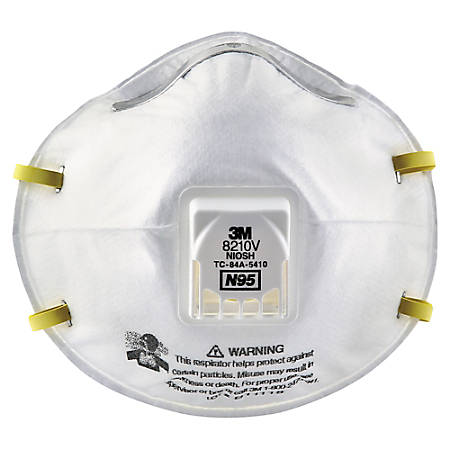 3M 8210V N95 Particulate Respirators With Cool Flow Valves, One Size, White, Pack Of 10 Respirators