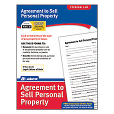 Adams Agreement To Sell Personal Property
