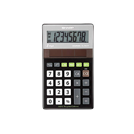 "Sharp Calculators ELR277 Recycled Handheld Calculator - Automatic Power Down, 4-Key Memory, Environmentally Friendly - Solar Powered - 4.5"" x 2.3"" x 0.8"" - Black, Silver - 1 Each"