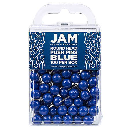 "JAM Paper® Colorful Push Pins, 1/2"", Blue, Pack Of 100 Push Pins"