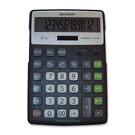 Sharp® 12-Digit Executive Eco Calculator, EL-R297BBK