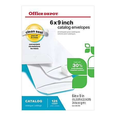"""Office Depot® Brand Clean Seal™ Catalog Envelopes, 6"""" x 9"""", 30% Recycled, White, Box Of 125"""