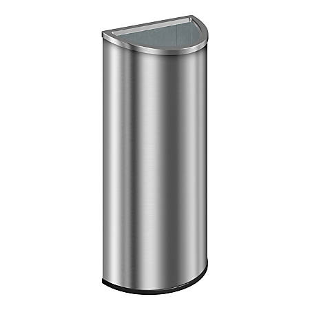 """Suncast Commercial Accent Series Decorative Crescent Metal Trash Can, 8 Gallons, 27-1/2""""H x 13-1/4""""W x 6-3/4""""D, Stainless Steel"""