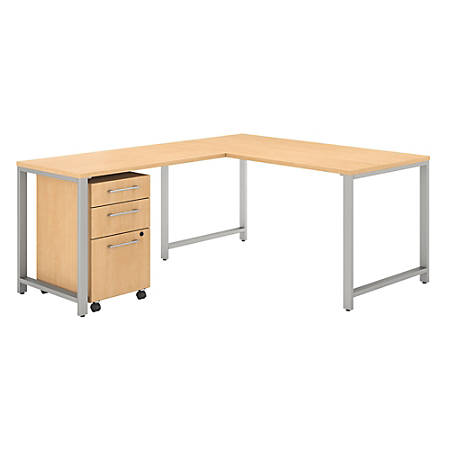 "Bush Business Furniture 400 Series 60""W x 30""D L-Shaped Desk With 42""W Return And 3 Drawer Mobile File Cabinet, Natural Maple, Premium Installation"