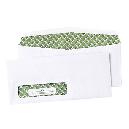 """Quality Park® Bagasse Security Window Envelopes, #10, 4 1/8"""" x 9 1/2"""", White, Box Of 500"""