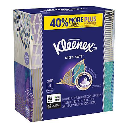 Kleenex® Ultra Soft 3-Ply Facial Tissues, White, Carton Of 12 Packs