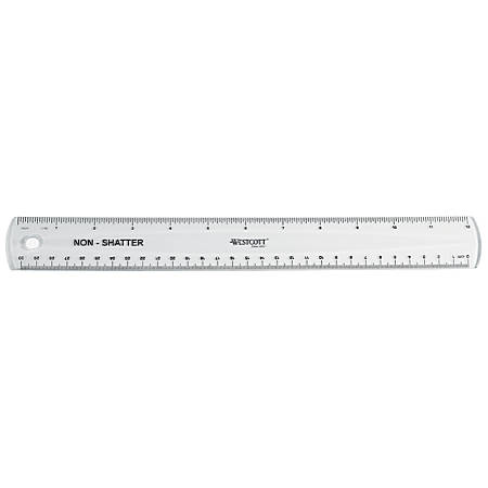 """Westcott® Shatterproof Ruler, 12"""", Clear"""