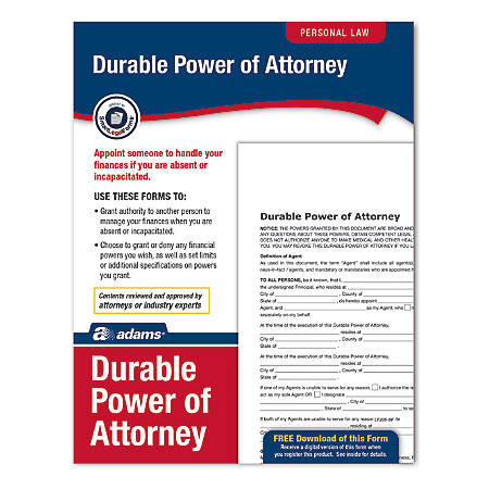 Adams Durable Power Of Attorney By Office Depot Officemax