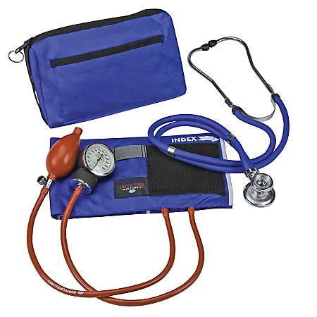 MABIS MatchMates® Sphygmomanometer And Stethoscope Manual Blood Pressure Kit With Adult Cuff, Royal Blue