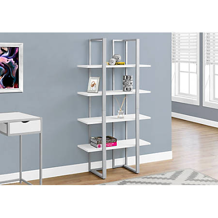 Monarch Specialties 4-Shelf Metal Bookcase, White/Silver
