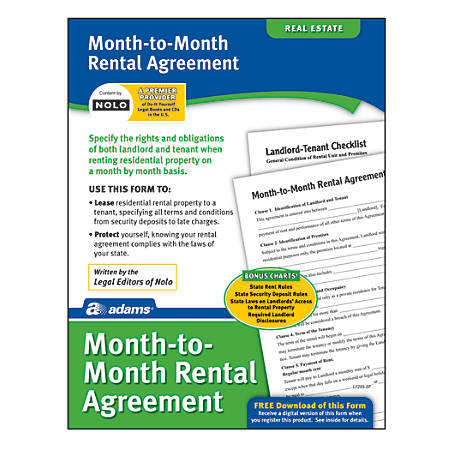 Adams Month To Month Rental Agreement Item 590960