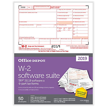 "Office Depot® Brand W-2 Inkjet/Laser Tax Forms With Software, 2019 Tax Year, 2-Up, 6-Part, 8-1/2"" x 11"", Pack Of 50 Form Sets"