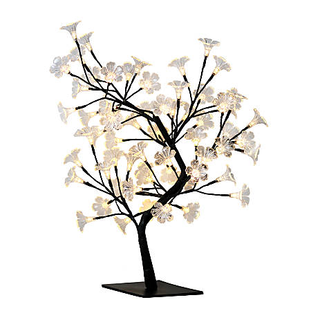 """Simple Designs Cherry Blossom Decorative Lighted Tree Lamp, 23 5/8""""H, Clear Shade/Black Base"""