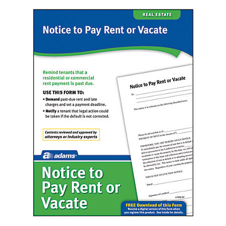 Adams® Notice To Pay Rent Or Quit