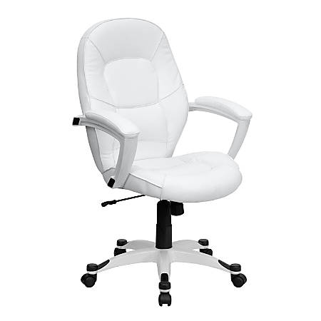 Flash Furniture Leather Mid-Back Swivel Chair, White