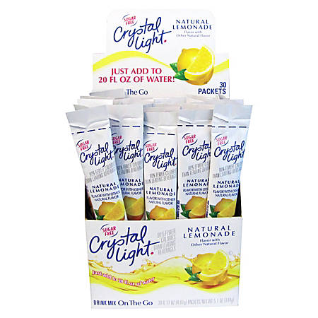 Crystal Light® On The Go Mix Sticks, Lemon, Box Of 30 Packets