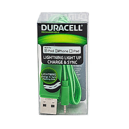 Duracell® Light Up Lightning Cable, 3', Green, LE2244