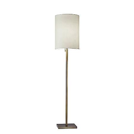 """Adesso® Liam Floor Lamp, 60-1/2""""H, Light Beige Shade/Antique Brass"""