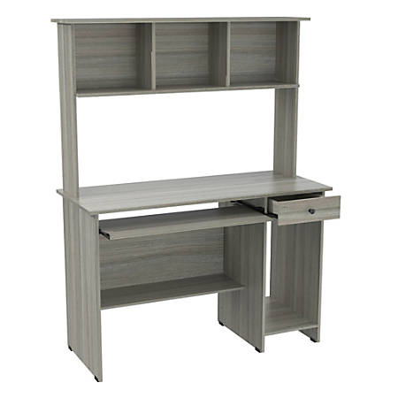 Inval Computer Desk/Workcenter With Hutch, Smoke Oak