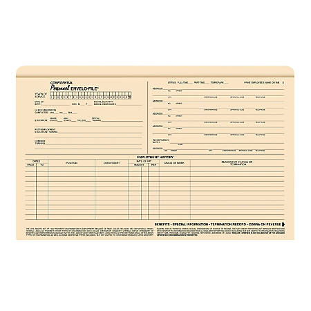 """ComplyRight Envelo-File Confidential Personnel Folders, 9 1/2"""" x 15"""", Manila, Pack Of 25"""