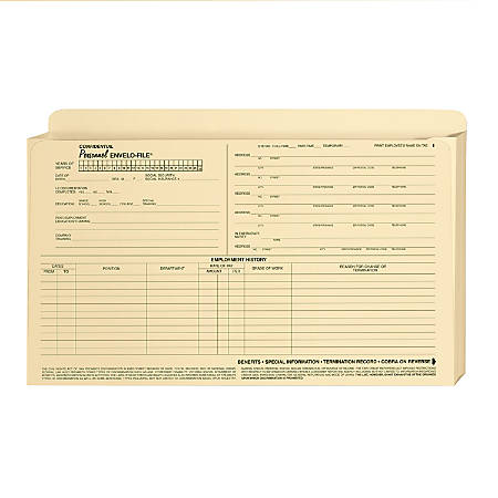 "ComplyRight Envelo-File Confidential Personnel Folders, 9 1/2"" x 15"", Manila, Pack Of 25"