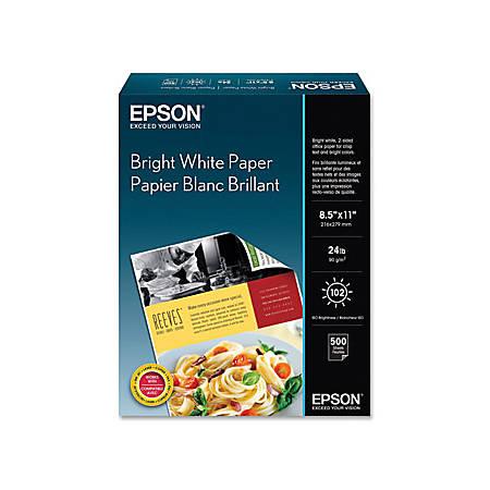 Epson® Premium Inkjet Paper, Letter Paper Size, 108 Brightness, Bright White, Pack Of 500 Sheets