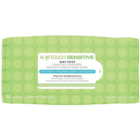 """Aloetouch Sensitive Personal Cleansing Baby Wipes, Unscented, 5 1/2"""" x 7 1/4"""", White, 80 Wipes Per Pack, Case Of 24 Packs"""