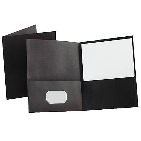 Oxford™ Twin-Pocket Portfolios, Black, Pack Of 10
