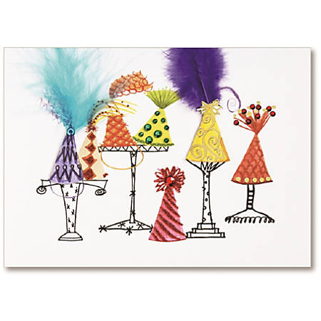 "Viabella Birthday Greeting Card With Envelope, Birthday Hats, 5"" x 7"""