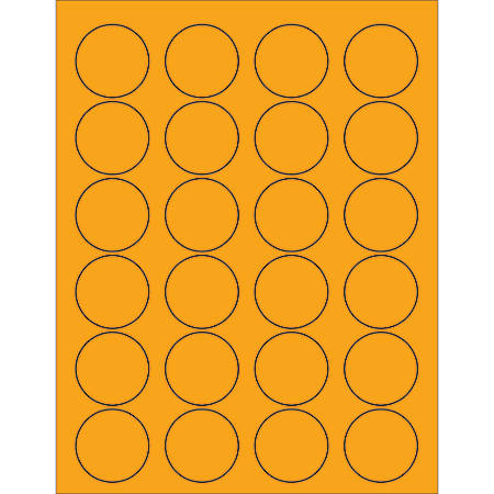 """Office Depot® Brand Labels, LL193OR, Circle, 1 5/8"""", Fluorescent Orange, Case Of 2,400"""