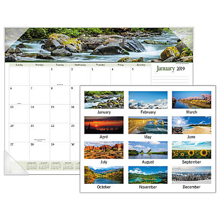 """AT-A-GLANCE® Landscape Panoramic Monthly Desk Pad, 22"""" x 17"""", 30% Recycled, January to December 2019"""