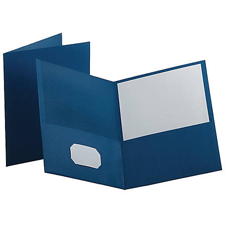Oxford™ Twin-Pocket Portfolios, Medium Blue, Pack Of 10