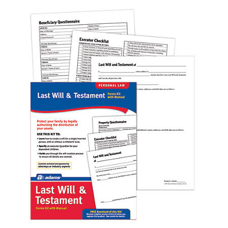 Adams last will testament kit by office depot officemax adams last will testament kit solutioingenieria Choice Image