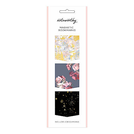 """Noteworthy Magnetic Bookmarks, 2"""" x 7"""", Leah, Gemini, Maquel, Pack Of 3"""