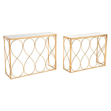 Zuo Modern Twist Nesting Console Tables, Rectangular, Gold, Set Of 2 Tables
