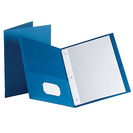 Oxford™ Twin-Pocket Portfolio With Fasteners, Medium Blue, Pack Of 10