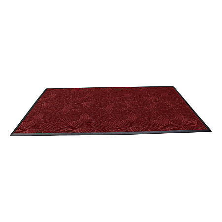 "Waterhog Plus Swirl Floor Mat, 48"" x 96"", 100% Recycled, Regal Red"