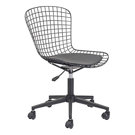 Zuo Modern Wire Mid-Back Office Chair, Black/Black