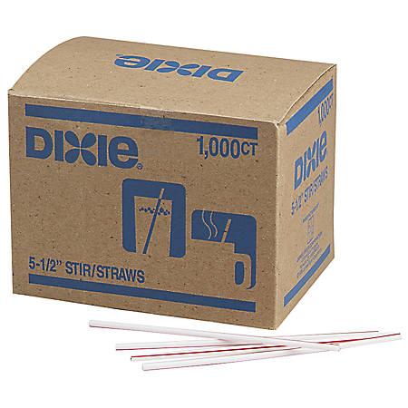 Dixie® Stir Sticks, White/Red, Box Of 1,000