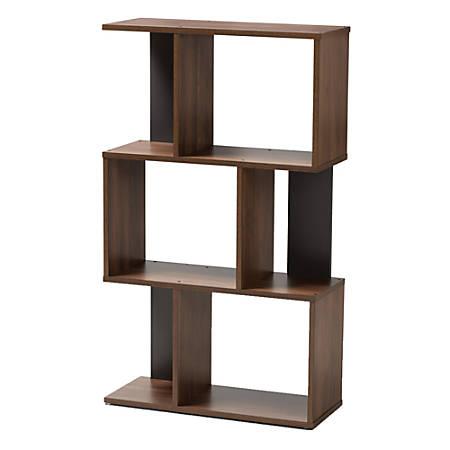 Baxton Studio Adelina Display Bookcase, Walnut Brown/Dark Gray