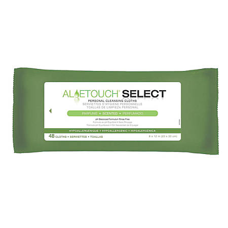 "Aloetouch SELECT Premium Spunlace Personal Cleansing Wipes, Soft Pack, Scented, 8"" x 12"", White, 48 Wipes Per Pack, Case Of 12 Packs"